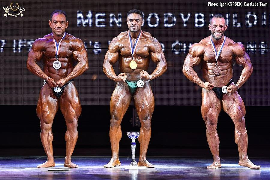 90 kg – 2  2017 IFBB World Bodybuilding Championships up to 90 kg category  medal winners (from L to R)  Mahdi GHANAVATI (2nd place)  Ahmed AL HARTHI ( 1st ... 8706d0073b