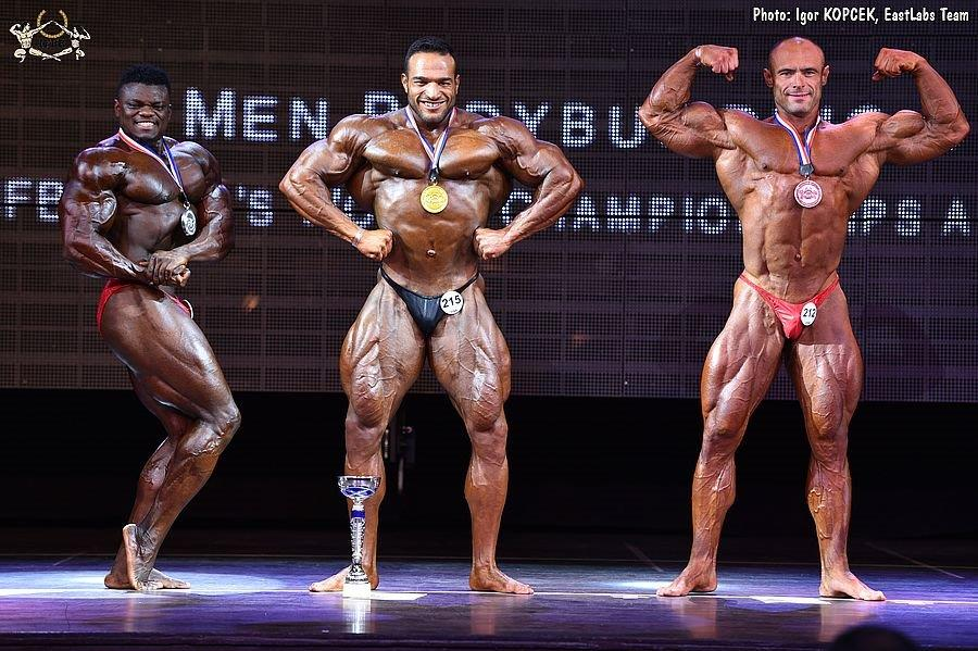Over 100 kg – 2  2017 IFBB World Bodybuilding Championships over 100 kg  category medal winners (from L to R)  Blessing AWODIBU (2nd place)  Mohsen  SAMADI ... c759669937
