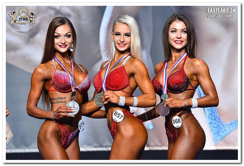4d79ee24718f6 2018 IFBB European Championships Junior Women's Bikini-Fitness up to 160 cm  category medal winners (from L to R): Nikoleta SUBOVA (2nd place); Patrycja  ...