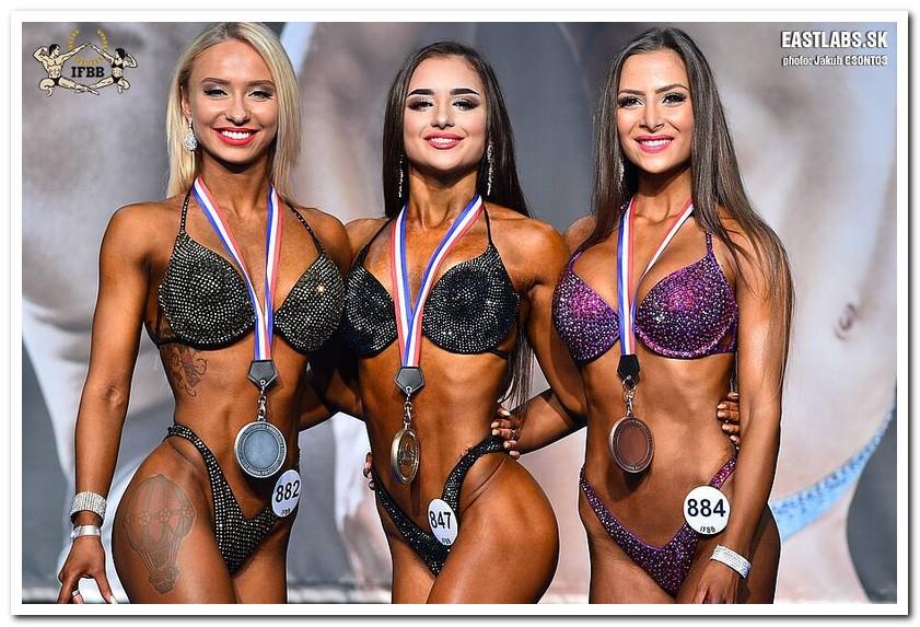 3413fd8c79a03 2018 IFBB European Championships Junior Women's Bikini-Fitness up to 166 cm  category medal winners (from L to R): Mariia SOKOLOVA (2nd place); Valeriia  ...