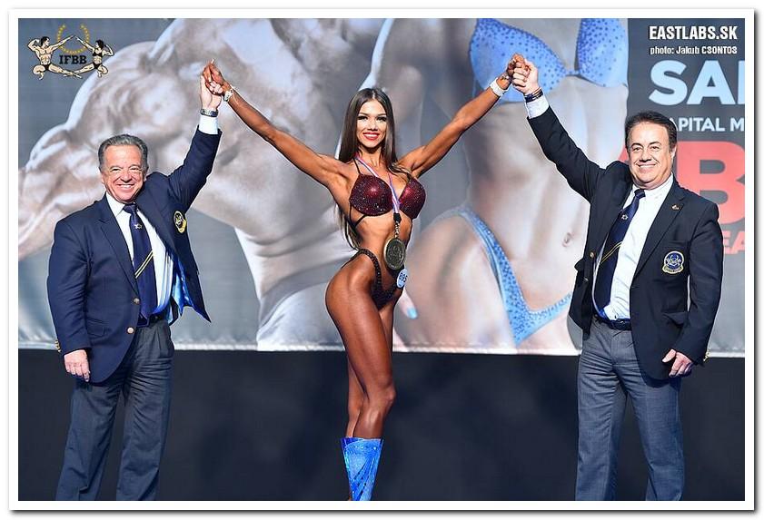 d5a022cfb 2018 European Junior Women's Bikini-Fitness overall winner: Neda SILKINYTE  (Lithuania), congratulated by IFBB President Dr. Rafael SANTONJA and Dr.  Alfonso ...