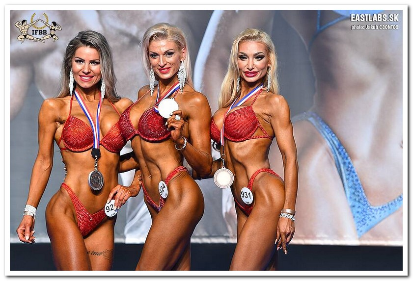 4a2d9f96469bb 2018 IFBB European Championships Master Women's Bikini-Fitness 35-39 years  over 163 cm category medal winners (from L to R): Dominika KOVACSOVA (2nd  place); ...