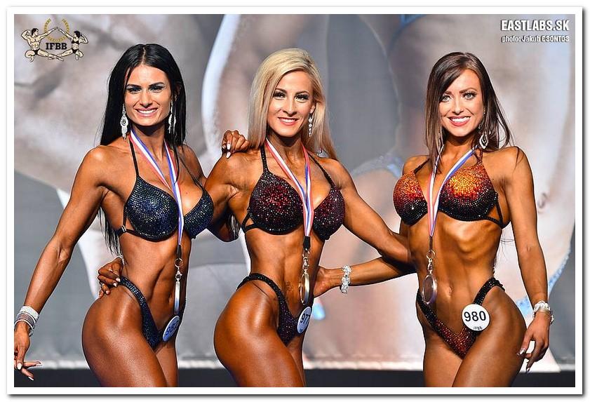 fd5da0abcd1ab 2018 IFBB European Championships Women's Bikini-Fitness up to 158 cm  category medal winners (from L to R): Aldijana KARADUZ-SEJDOVIC (2nd  place); Sandra ...