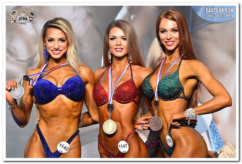 39bf5b1cc4f54 2018 IFBB European Championships Women's Bikini-Fitness over 172 cm  category medal winners (from L to R): Natalia LUGOVSKIKH (2nd place);  Maryna OBORSKA ...